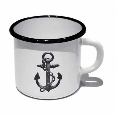 2nd sort Enamel Mug Anchor White/Black 4-pack