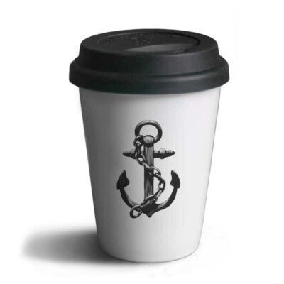 Travel Mug Anchor White / Black  6-pack