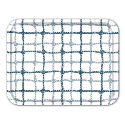 Rectangular Tray Plaid Net Blue 2-pack