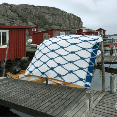 Wool Blanket Wavy Blue Net 2-pack