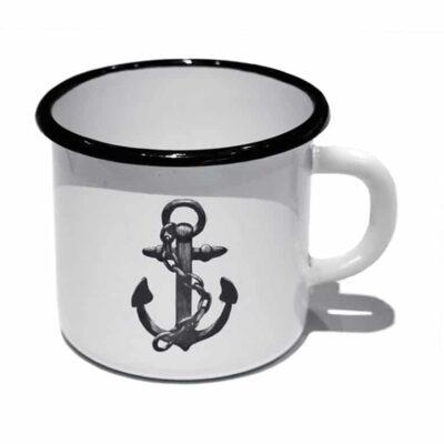 2nd sort Enamel Mug Anchor White/Black 4-pack
